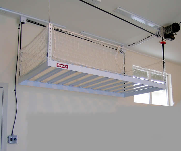 Motorized overhead storage garage ceiling storage system for Electric moving wall pictures